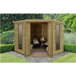 INSTALLED 8 x 8 Premier Corner Summerhouse (3.46m x 2.80m) - INCLUDES INSTALLATION