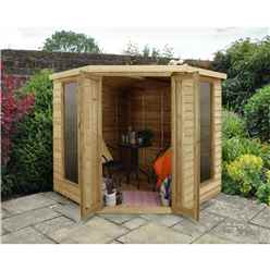 INSTALLED 7 x 7 Overlap Corner Summerhouse (2.96m x 2.30m) - INCLUDES INSTALLATION