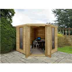 INSTALLED 8 x 8 Overlap Corner Summerhouse (3.46m x 2.80m) - INCLUDES INSTALLATION - CORE (BS)