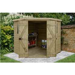 INSTALLED 7ft x 7ft Tongue & Groove Pressure Treated Corner Shed (2.96m x 2.30m)