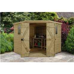 INSTALLED 8ft x 8ft Tongue & Groove Pressure Treated Corner Shed (3.46m x 2.80m)