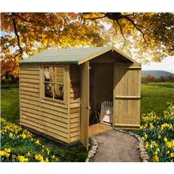 7 x 7 (1.98m x 2.04m) Pressure Treated Overlap - Apex Wooden Garden Shed - 1 Opening Window - Double Doors - 10mm Solid OSB Floor
