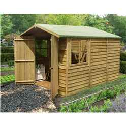 10 x 7 (2.97m x 2.04m) - Pressure Treated Overlap - Apex Wooden Garden Shed - 2 Opening Windows - Double Doors - 11mm Solid OSB Floor