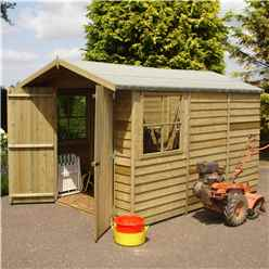INSTALLED 10 x 7 (2.97m x 2.04m) - Pressure Treated Overlap - Apex Wooden Garden Shed - 2 Opening Windows - Double Doors - 10mm Solid OSB Floor INSTALLATION INCLUDED