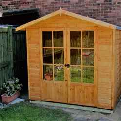 INSTALLED 7 x 5 (1.55m x 2.05m) Premier Wooden Summerhouse - Double Doors - 12mm Tongue And Groove Floor INSTALLATION INCLUDED
