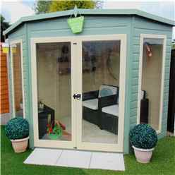 INSTALLED 7 x 7 (2.69m x 2.05m) - Corner Wooden Summerhouse - Double Doors - 12mm Tongue And Groove Floor - INCLUDES INSTALLATION