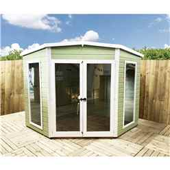 8 x 8 (2.25m x 2.25m) - Premier Corner Wooden Summerhouse - Double Doors - Side Windows - 12mm T&G Walls & Floor (Show Site)