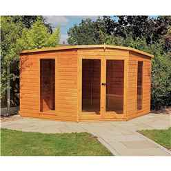 10 x 10 (2.99m x 2.99m) - Premier Corner Wooden Summerhouse - Double Doors - 12mm T&G Walls - Floor - Roof (Show Site)
