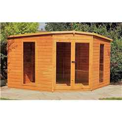 INSTALLED 10 x 10 (2.99m x 2.99m) - Corner Wooden Summerhouse - Double Doors - 12mm Tongue And Groove Floor - INCLUDES INSTALLATION