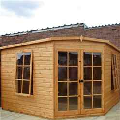 10 x 10 (2.99m x 2.99m) - Premier Corner Wooden Summerhouse - 2 Opening Windows - 12mm T&G Walls - Floor - Roof (BS CORE)