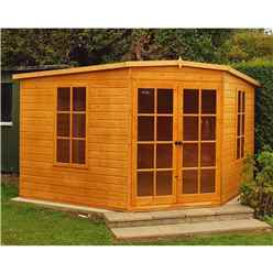 INSTALLED 10 x 10 (2.99m x 2.99m) - Premier Corner Wooden Summerhouse - 2 Opening Windows - 12mm T&G Walls - Floor - Roof
