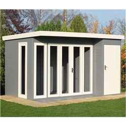 12 x 8 (3.59m x 2.39) - Tongue And Groove - Pent Wooden Summerhouse - 4 Windows - Double Doors (12mm Tongue And Groove Floor & Roof)