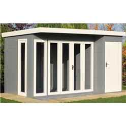 INSTALLED 12 x 8 (3.59m x 2.39) - Premier Pent Wooden Summerhouse - 4 Windows - Double Doors - 12mm T&G Walls - Floor - Roof