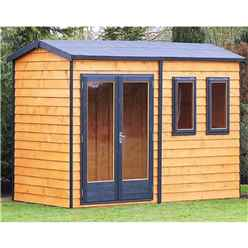INSTALLED 10 x 10 (3.02m x 3.15m) - Tongue And Groove - Apex Wooden Summerhouse - 2 Windows - Double Doors - 16mm Tongue And Groove Floor