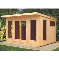 12 x 10 (3.59m x 2.99m) - Tongue And Groove - Pent Wooden Summerhouse - 6 Windows - Double Doors (16mm Tongue And Groove Floor)