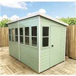 8 x 6 (1.83m x 2.39m) - Tongue And Groove - Pent Potting Shed - 2 Opening Windows - Single Door - 12mm Tongue And Groove Floor & Roof