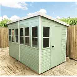 8 x 8 (2.44m x 2.39m) - Premier Pent Wooden Summerhouse - Potting Shed - 2 Opening Windows - Single Side Door - 12mm T&G Walls - Floor - Roof