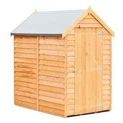 ** IN STOCK LIVE BOOKING ** ** FLASH REDUCTION** 6 x 4  (1.83m x 1.20m) - Super Value Overlap - Apex Wooden Garden Shed - Windowless - Single Door - 8mm Solid OSB Floor - CORE
