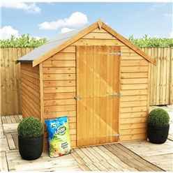 ** FLASH REDUCTION** 8 x 6 (2.39m x 1.83m) - Super Value Overlap - Apex Wooden Shed - Windowless - Single Door - 8mm Solid OSB Floor