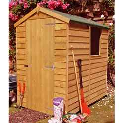 6 x 4 (1.83m x 1.20m) - Dip Treated Overlap -  Apex Garden Shed - 1 Window -  Single Door - 10mm Solid OSB Floor