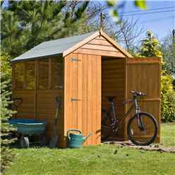 7 x 5 (2.04m x 1.61m) - Dip Treated Overlap - Apex Garden Shed - 4 Windows - Double Doors - 10mm Solid OSB Floor