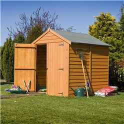 6 x 6 (1.76m x 1.82m) - Dip Treated Overlap - Apex Garden Shed - Windowless - Double Doors - 11mm Solid OSB Floor