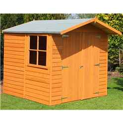 7 x 7 (1.98m x 2.04m) Dip Treated - Apex Wooden Garden Shed - 1 Opening Window - Double Doors - 11mm Solid OSB Floor
