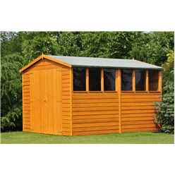 10 x 6 (2.99m x 1.79m) - Dip Treated Overlap - Apex Garden Shed - 6 Windows - Double Doors - 10mm Solid OSB Floor