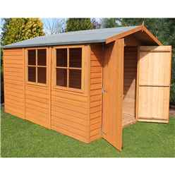 10 x 7 (2.97m x 2.04m) - Dip Treated Overlap - Apex Garden Shed - 2 Opening Windows - Double Doors - 10mm Solid OSB Floor