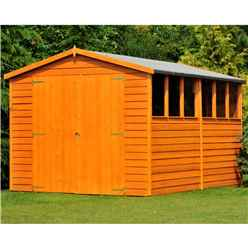 10 x 8 (2.99m x 2.39m) -  Dip Treated Overlap - Apex Garden Shed - 6 Windows - Double Doors - 11mm Solid OSB Floor