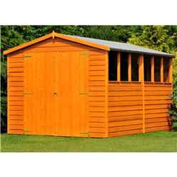 12 x 8 (3.59m x 2.39m) - Dip Treated Overlap - Apex Garden Shed - 6 Windows - Double Doors - 10mm Solid OSB Floor