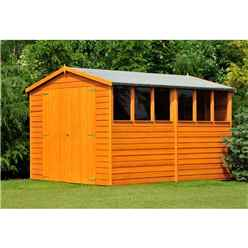 10 x 10 Dip Treated Overlap Apex Wooden Garden Shed With 6 Windows And Double Doors (10mm Solid OSB Floor)