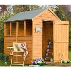 7 x 5 Dip Treated Overlap Apex Wooden Garden Shed With 4 Windows And Single Door (11mm Solid OSB Floor)