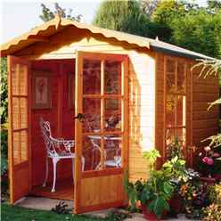 INSTALLED 7 x 7 (2.05m x 1.98m) - Premier Wooden Summerhouse - Pressure Treated - Double Doors - 12mm T&G Walls - Floor - Roof