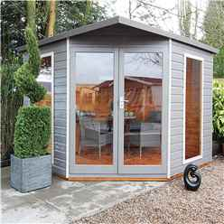 8 x 8 (2.5m x 2.5m) - Premier Corner Wooden Summerhouse - Double Doors - Side Windows - 12mm T&G Walls and Floor