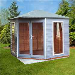 INSTALLED 8 x 8 (2.5m x 2.5m) - Premier Corner Wooden Summerhouse - Double Doors - Side Windows - 12mm T&G Walls and Floor
