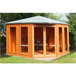 INSTALLED 10 x 10 (3.16m x 3.16m) - Premier Corner Wooden Summerhouse - Double Doors - Side Windows - 12mm T&G Walls and Floor