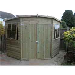 8 x 8 (2.25m x 2.25m) - Pressure Treated Tongue And Groove - Corner Shed - 2 Opening Windows - Double Doors - 12mm Tongue And Groove