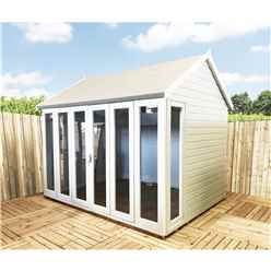 10 x 8 (2.99m x 2.39m) - Premier Reverse Wooden Summerhouse - Bifold Doors - 12mm T&G Walls - Floor - Roof (Show Site)