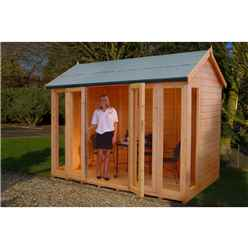 INSTALLED 10 x 8 (2.99m x 2.39m) - Premier Wooden Summerhouse - Bifold Doors - 12mm T&G Walls - Floor - Roof INSTALLATION INCLUDED