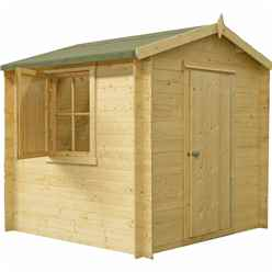 INSTALLED - 2.4m x 2.4m Premier Apex Log Cabin With Single Door and  Window Shutter + Free Floor & Felt (19mm)