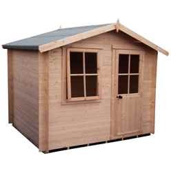 INSTALLED - 2.7m x 2.7m Premier Log Cabin With Half Glazed Single Door With Opening Window + Free Floor & Felt (19mm)