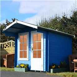 INSTALLED - 2.4m x 2.4m Premier Apex Log Cabin With Interchangeable Door and Window + Free Floor & Felt (19mm) INSTALLATION INCLUDED - CORE - IN STOCK BOOK A DELIVERY DATE