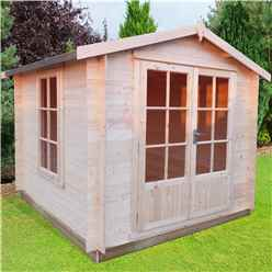 INSTALLED - 2.7m x 2.7m Premier Apex Log Cabin With Double Doors + Free Floor & Felt (19mm)