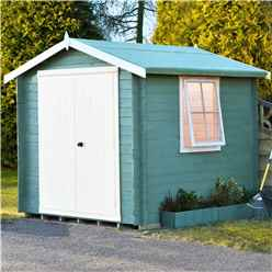 INSTALLED - 2.7m x 2.7m Premier Apex Log Cabin With Double Doors + Side Window + Free Floor & Felt (19mm) INSTALLATION INCLUDED - CORE - IN STOCK BOOK A DELIVERY DATE