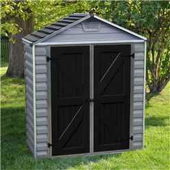 3 x 6 (0.90m x 1.85m) Double Door Apex Plastic Shed with Skylight Roofing