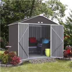7 x 8 (2.18m x 2.38m) Double Door Galvanised Steel Metal Shed