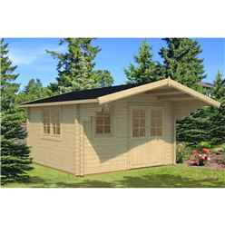 4m x 4m Budget Apex Log Cabin (205) - Double Glazing (40mm Wall Thickness)
