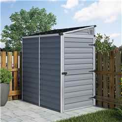 INSTALLED 6 x 4 (1.75m x 1.17m) Single Door Pent Plastic Shed with Skylight Roofing INSTALLATION INCLUDED