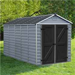 INSTALLED 12 x 6 (3.78m x 1.85m) Double Door Apex Plastic Shed with Skylight Roofing INCLUDED INSTALLATION